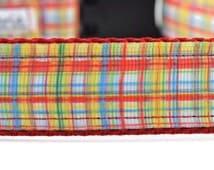 Plaid Dog Collar, red dog collar, yellow dog collar, blue dog collar, colorful dog collar, spring dog collar, summer dog collar,
