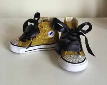 Gold Glitter and Rhinestone Converse; Gold & Black Converse