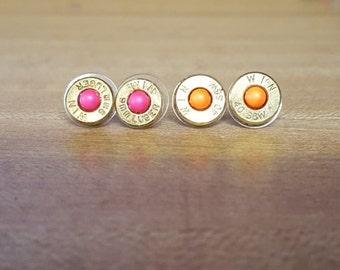 Neon Pearl Bullet Earrings
