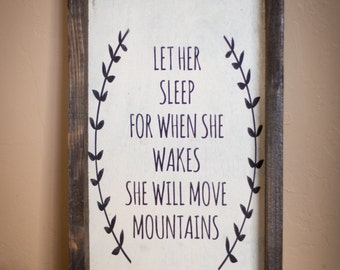 Wood Sign, Let Her Sleep...// wooden sign home decor rustic distressed farmhouse