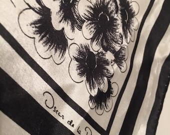 Vintage Oscar de la Renta for Accessory Street Black and White Floral Wrap/Scarf