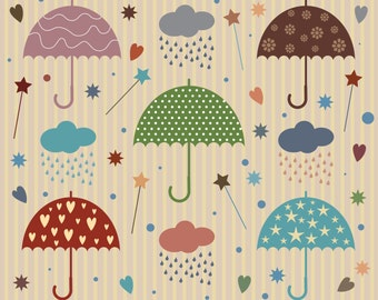 Rain Umbrella Vector with Star and Heart