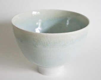 light blue porcelain bowl with tall foot