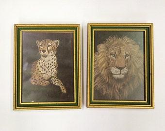 Pair of Vintage M. Brice Artwork of Lion and Cheetah Marjorie Brice