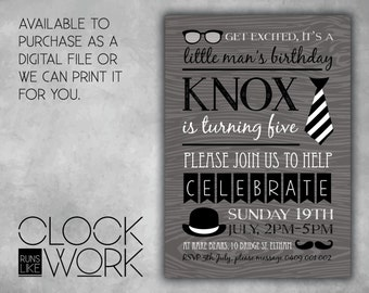 Kids Invitations, Birthday, Party, Printed or Digital File Available, Little Man