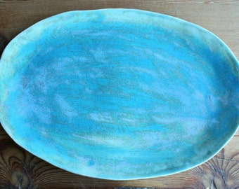 Ceramic Serving Platter, Serving Tray, Turquoise, Handmade by Tagliaferro Ceramics