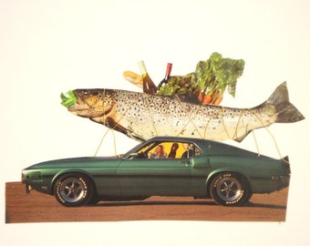 Original Paper Collage,Fish and Car,Funny Collage,Vintage Magazines