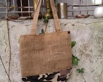 Handmade burlap bag
