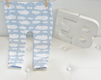 Baby/Toddler Leggings & Dribble Bib Set. Neutral Girls/Boys Baby Blue With White Clouds.Emma's Bambino.Handmade From Quality Stretch Cotton.