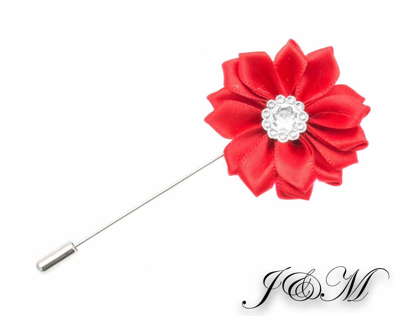 Flower Lapel Pin Red Lapel Pin Lapel Pin Wedding Lapel Pin