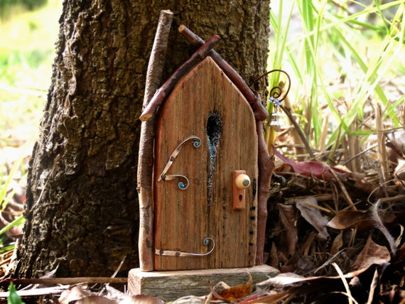 Rustic wooden arched fairy door with with bell by smallhavens for Rustic fairy door