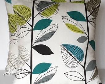 "2x 20"" (50cm x50cm) Autumn leaves Teal black grey lime green cushion covers"