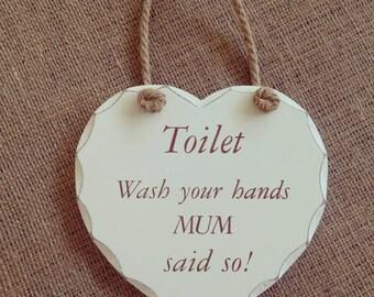Wash your hands wooden plaque.