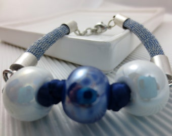 Blue and white CERAMIC bracelet
