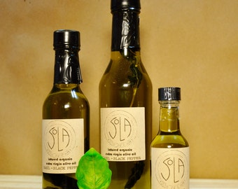 ORGANIC OLIVE OIL: infused with basil and black pepper