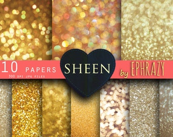 Gold Glitter Bokeh digital paper. Bokeh Overlay, Gold Glitter backgrounds, Bokeh Background for Photographers