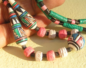 Vintage Handpainted Tribal Necklace .