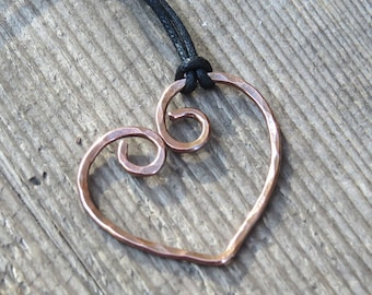 Hammered Copper Necklace Heart Copper Pendant Copper Wire