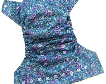 Blueberry Flower Cloth Diaper, Pocket Diaper, One Size Diaper
