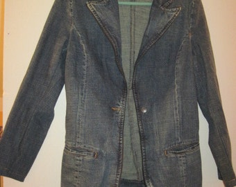80's style blue denim blazer