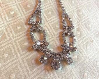Vintage wedding rhinestone necklace