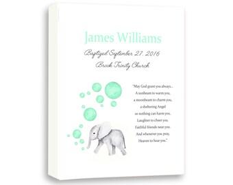 Newborn Baby Baptism Boy Gift - Baby Elephant Christening Art From Godparents - Dedication Gift For Godchild