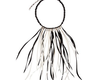 Black and White Feather Necklace