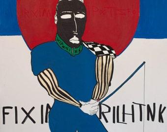 The blue Fisherman | Original contemporary pop art | Acrylic on canvas | 80x100