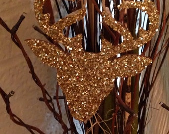 Gold Glitter Deer Christmas Ornament!