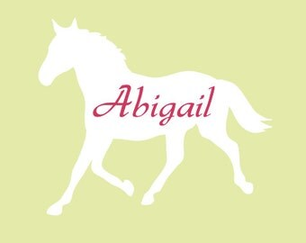 Personalized Name Horse Vinyl Wall Decal, Name Horse Wall Decal, Girls Room Wall Decals