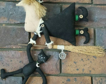 Witch and Cat on broom' - Rustic Wall Doll.