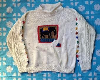 Missing Piece Sweater, Studio Michelle Stuart, 1980s, Women's Size Medium