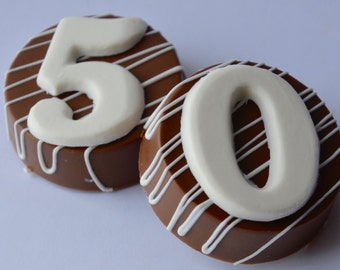 Chocolate 50th Oreo (6), 50th Anniversary Chocolate, 50th Birthday Chocolate, Chocolate Birthday Oreo, Silver Anniversary Favor