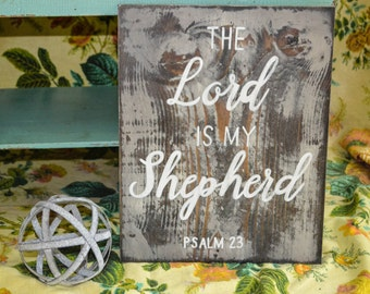 The Lord is my Shepherd | Psalm 23 | Rustic Wood Sign | Hand-painted Scripture Sign