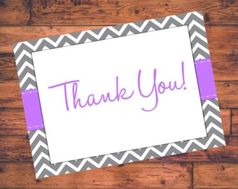 "Printable ""Thank You"" Cards - Purple w/ Gray Chevron - DIGITAL FILE"