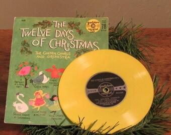 Twelve Days of Christmas Vintage Christmas Record Yellow Vinyl 78 rpm