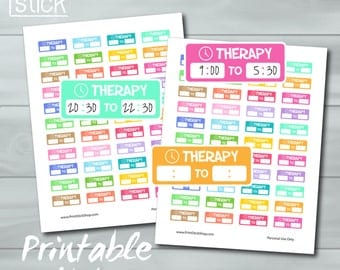 Therapy Planner Stickers - Therapy Hours Printable Stickers - Printable Stickers for Erin Condren, Happy Planners