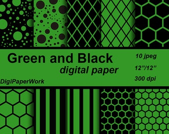 Green and black Digital Paper stripes grid background circles Instant download honeycomb pattern Personal and Commercial Use