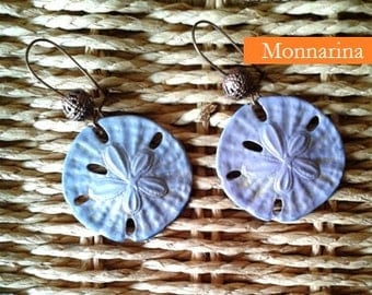 Mauve Patina Earrings Sand Dollar