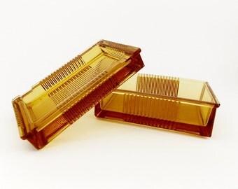 Vintage 1960s Amber Glass Ashtray & Cigarette dose, box in Art Deco Style