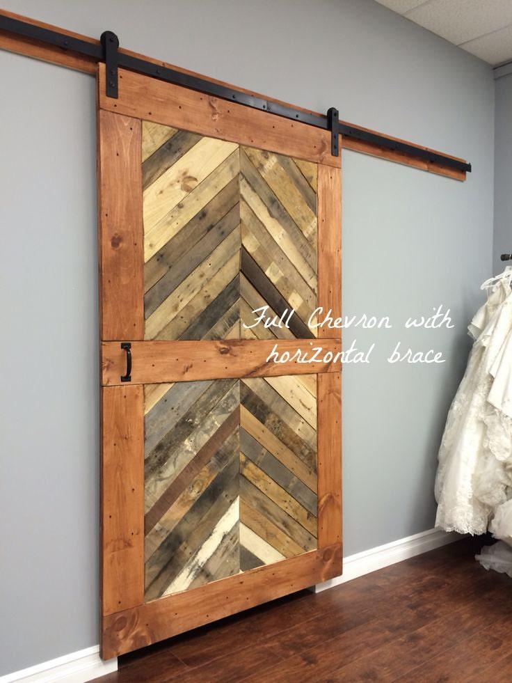 Custom sliding barn door modern reclaimed chevron for Price of reclaimed barn wood