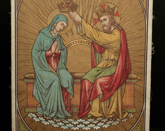 Antique print on canvas. Jesus crowning the Virgin Mary.