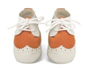 Baby shoe - leather baby shoes - handmade - laced baby shoes - baby booties - orange ivory white baby shoes - crib shoes-newborn shoes