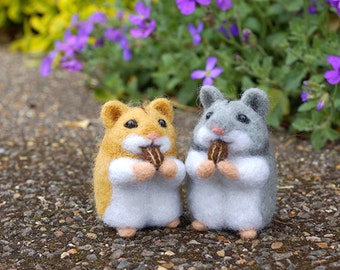 Wedding Cake Topper, Needle Felted Hamster, needle felted animal, wedding gift for couple