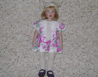 Handmade Vintage HANKY Dress Fits Kish BITTY BETYHANY or Other 10-11 inch dolls!  Delicate look!