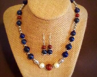 Lapis Lazuli Necklace and Earring Set