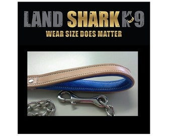 Heavy Duty Welded Nickel Dog Leash with Genuine Leather Padded Handle