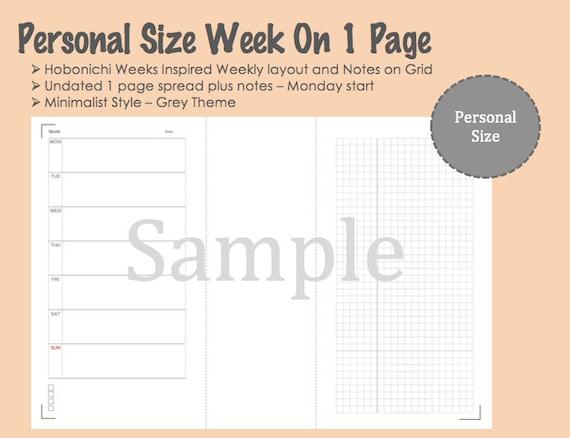 Personal Size Printable Week On 1 Page - Hobonichi Weeks Inspired -  Monday Start