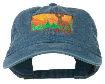 Deer Hunting Silhouette Embroidered Washed Cotton Cap