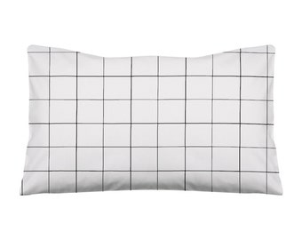 Toddler Pillow Pillowcase Gird Crib Pillow Nursery Pillow Baby Bedding Kids Bedding Black White Baby Pillow Grid, Nursery Decor